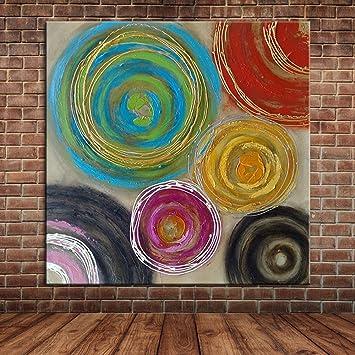 IPLST@ Abstrakte Bunte Kreise Ölgemälde Leinwand Kunst, Moderne Dicke  Bemalte Wand Wandbild Bild Dekoration
