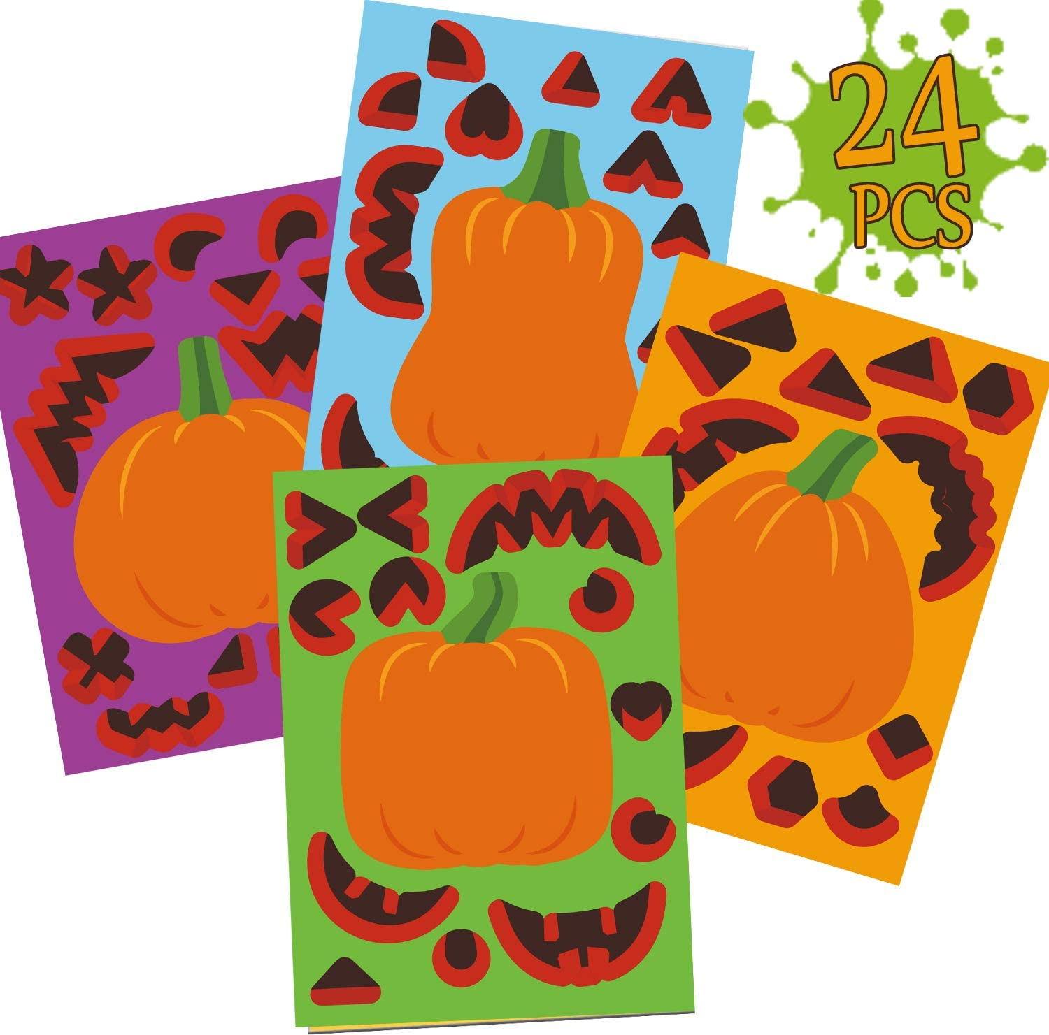 24 Cute and Funny Face Stickers Halloween Party Supplies Decor Idea Gifts and Treats for Kids Make Your Own Jack-O-Lantern Face Decals Halloween Pumpkin Decorating Craft Stickers