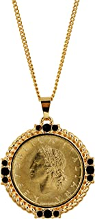 product image for American Coin Treasures Italian 20 Lira Coin Pendant Necklace - Italian 20 Lire Goldtone Pendant with Faceted Round Jet Glass Stones| Italian Medallion Pendant