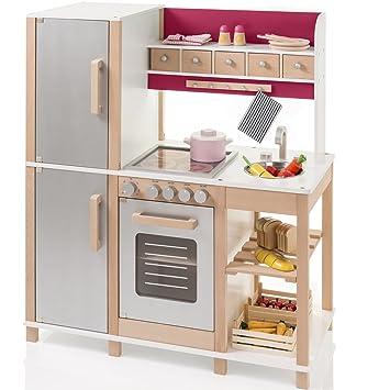 83x95cm Buchen Holz Kinderküche mit Herd, Kühlschrank, Backofen in ...