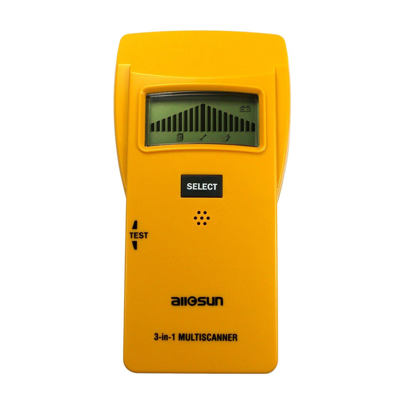 allsun Handheld Wood Edge Finding Stud Finder Wireless Metal Detector AC Electrical Wire Scanner