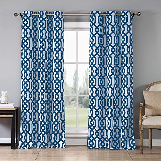 Blackout365 Ashmont Heavy Geometric Insulated Blackout Room Darkening Window Curtain Set of 2 Panels, W38 X L84, Royal Blue