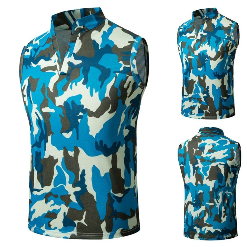 HTHJSCO Men's Sleeveless Zip up Vest, Camouflage Summer Casual Slim Sleeveless T Shirt Tank Top Vest Blouse (Blue, XXL)