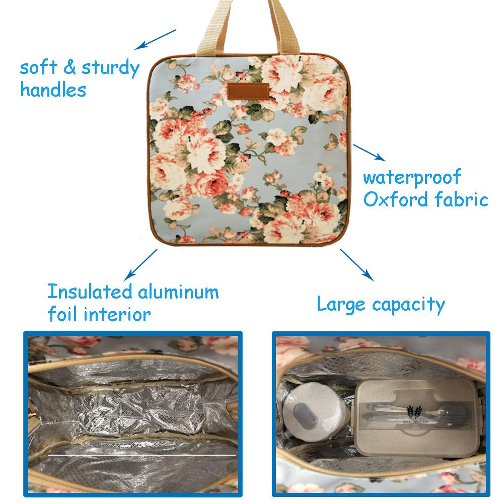 Black with Flowers Reusable Lunch Box Water-resistant Cooler Bag Insulated Lunch Container Set of 3 Lunch Bag Tote Bag for Women /& Men