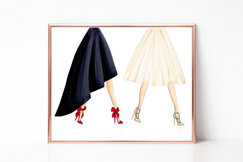 Unframed Tutus Bows and High Heels Fashion Illustration Art Print