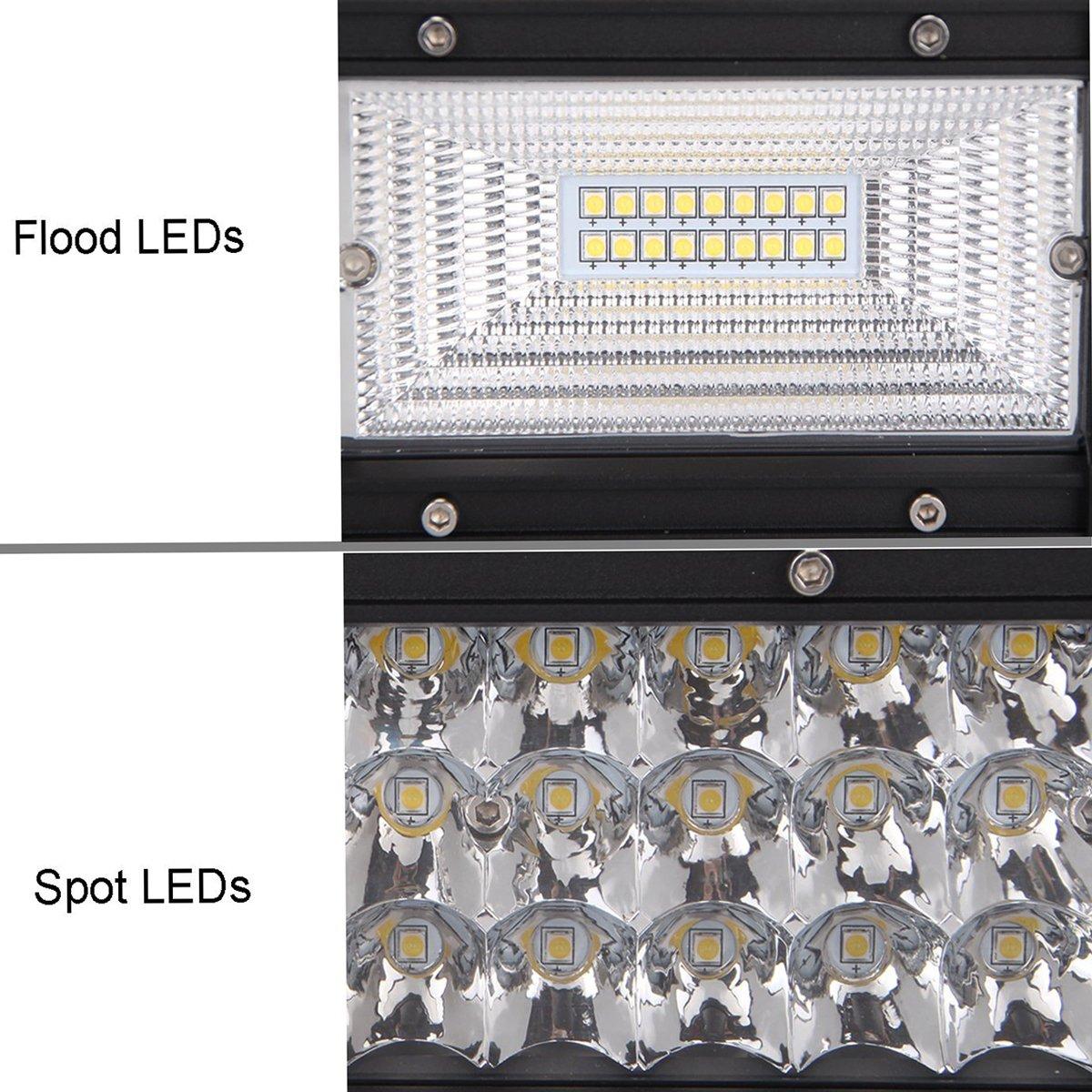 Auxtings 22 inch 270 W Triple rang/ée 7d Barre lumineuse LED de travail spot inondation Combo Faisceau DC 12 V-24 V 6000 K Offroad V/éhicules 4 x 4 ATV Utvs