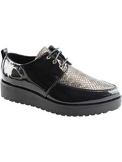 8c7fbd64ea Liyu Adult Black Snake-Skin Pattern Panel Lace-Up Oxford Shoes 6-10