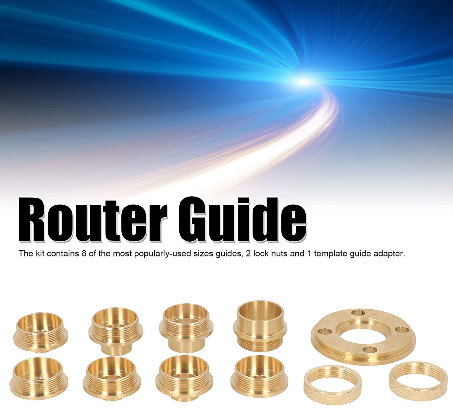 Router Guide Kit Brass with Lock Nut Adapter Router Accessory for Cut‑out Work Dovetailing Fafeicy 11Pcs//Set Router Template Guide