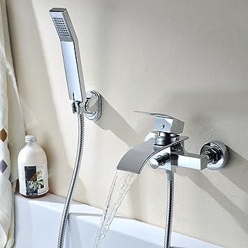 Badewannen armaturen wasserfall  Kinse® Elegant Zeitgenössische Chrom Armatur Wasserfall Badewanne ...