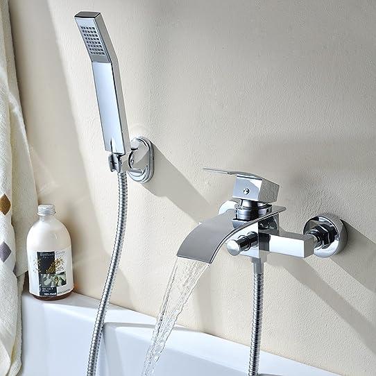 kinse® robinet de baignoire en laiton cascade avec douche à main ... - Robinet Baignoire Avec Douchette