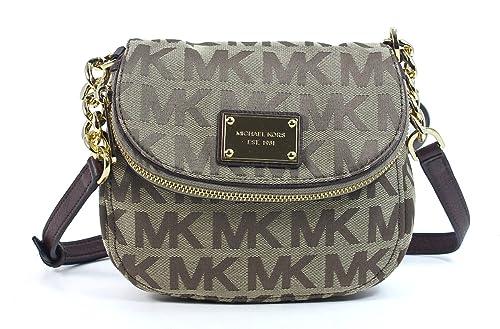 michael kors jet set item flap crossbody beige ebony mocha handbags rh amazon com