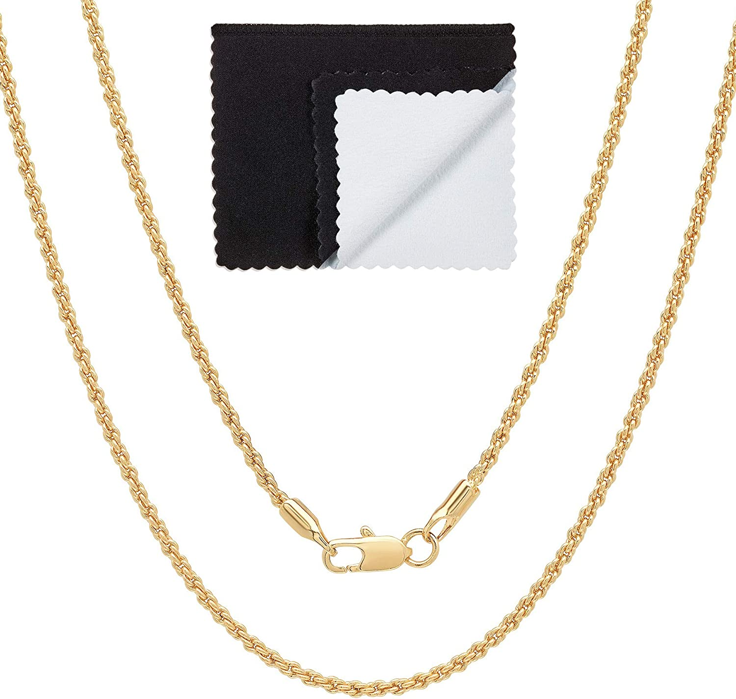 The Bling Factory 2mm High-Polished 0.25 mils (6 microns) 14k Yellow Gold Plated Round Rope Chain Necklace, 16'-30