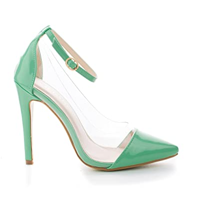 496a1f337f3 Olga1A Mint Pointy Toe Lucite Clear Ankle Strap Stiletto Dress Pumps-5.5