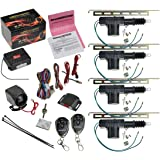 CrimeStopper SP-101 Car Security Alarm & Keyless Entry System with (4) Car Power Door Lock Actuator Motors