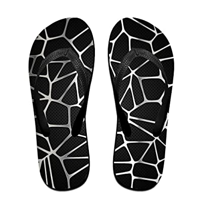 Abstract With Silver Metal Texture Flip Flop Sandals, Great For Beach Or Casual Wear