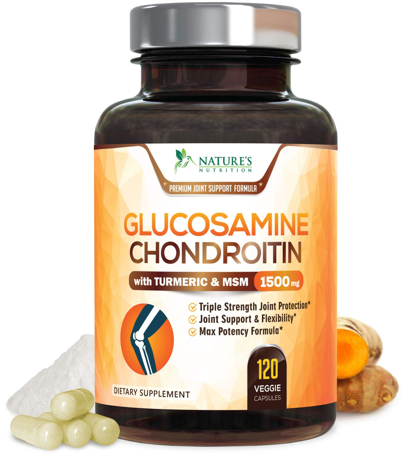 Glucosamine Chondroitin with Turmeric MSM Boswellia Non-GMO and Gluten Free Natural Joint Pain Relief Supplements for Men and Women Anti-Inflammatory 90 Capsules Cartilage Building