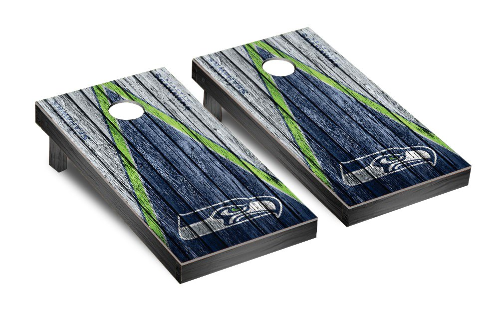 NFL Seattle Seahawks Triangle Weathered Version Football Corn hole Game Set, One Size by Victory Tailgate (Image #1)