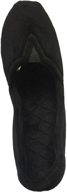 Dearfoams Women/'s Microfiber Velour Memory Foam Charlize Slippers Black, 7-8