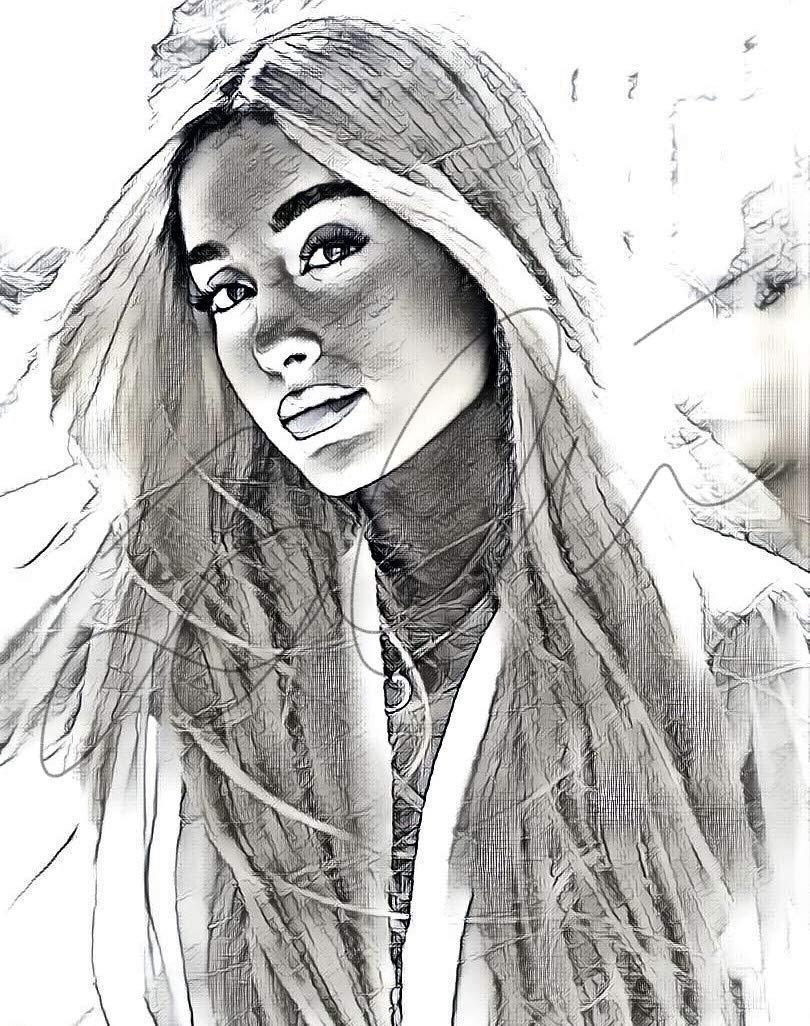 Amazon com ariana grande sketch drawing print poster hand drawn pencil singer ariana sketch10 handmade