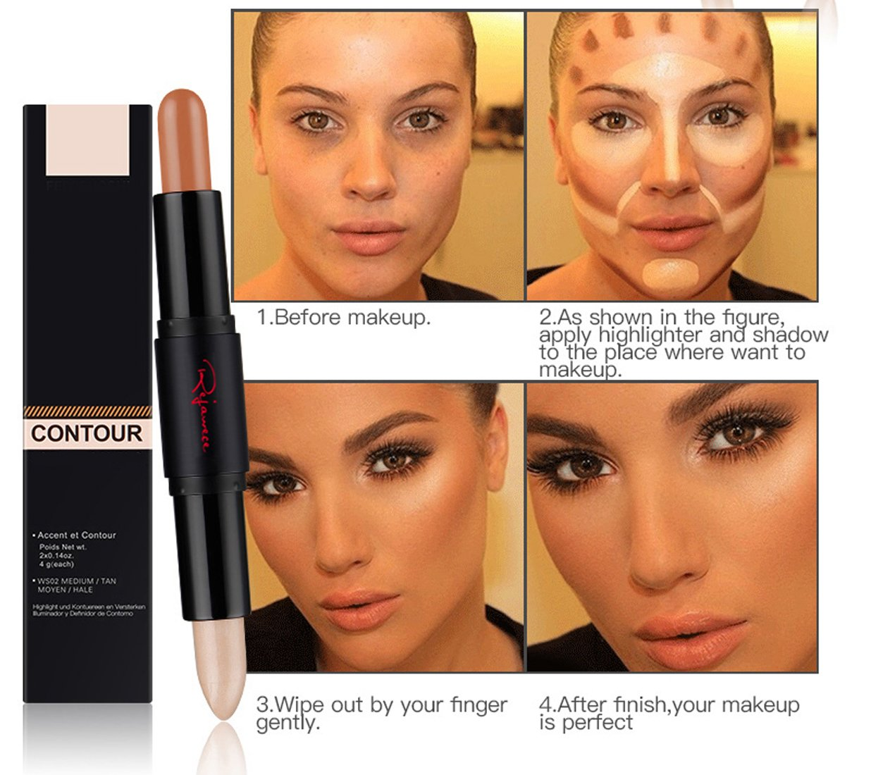 Amazon.com : Cosmetics Cream Contour Concealer (a Set Of 5 Sticks)  Highlighting Makeup Kit By Rejawece   Contouring Foundation Makeup /  Concealer Stick   2 ...