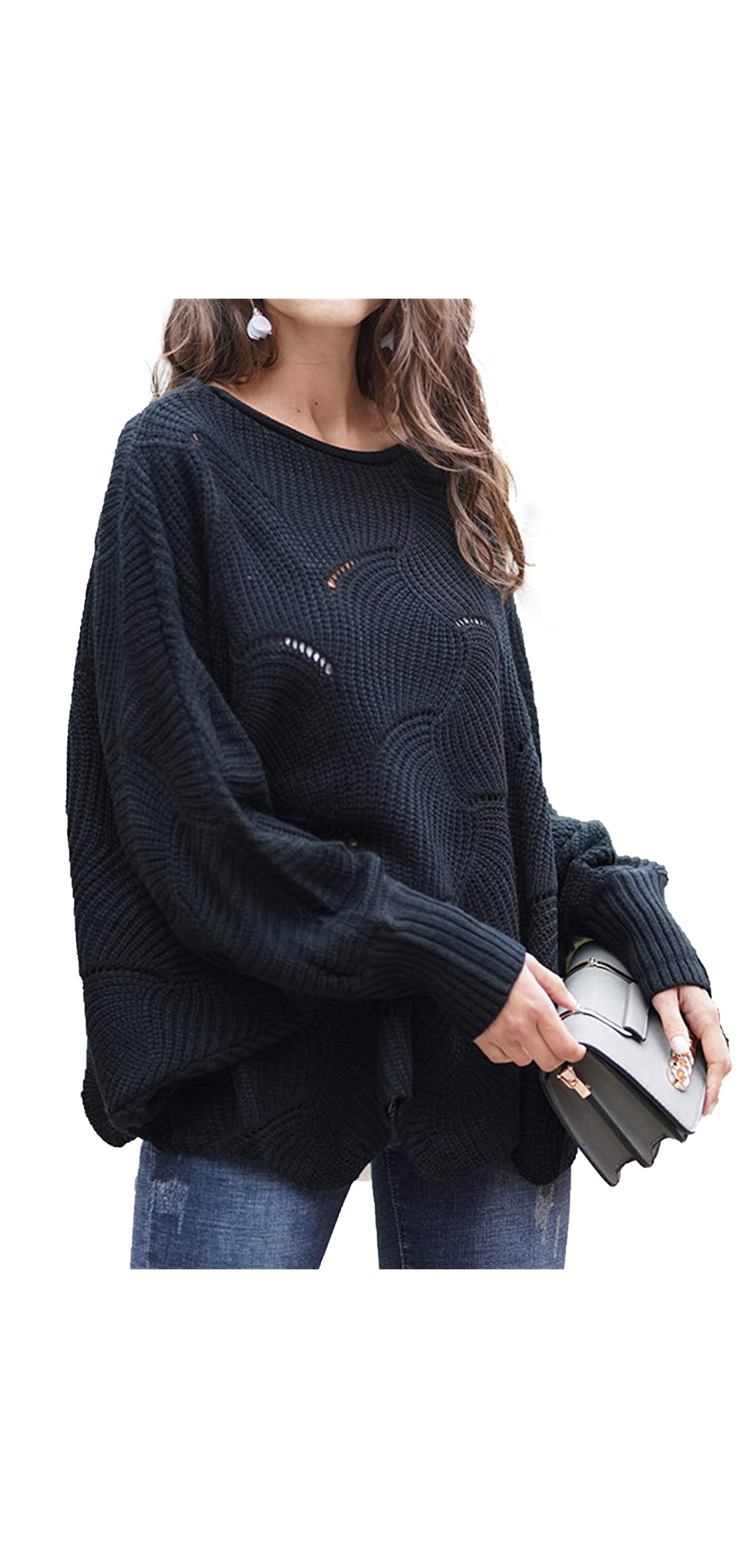 Women's Pullover Batwing Sleeve Loose Hollow Knit
