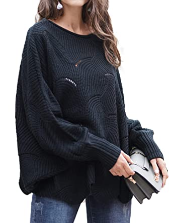 1f2ecff2f66 Relipop Women's Pullover Batwing Sleeve Loose Hollow Knit Sweaters Black
