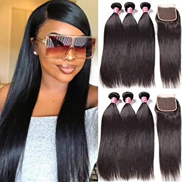 Amazon Com Nadula Brazilian Straight Hair Extensions Pack Of 3 With Lace Closure Free Part Grade 8a Unprocessed Remy Virgin Human Hair Natural Color 8 10 12 10inch Beauty
