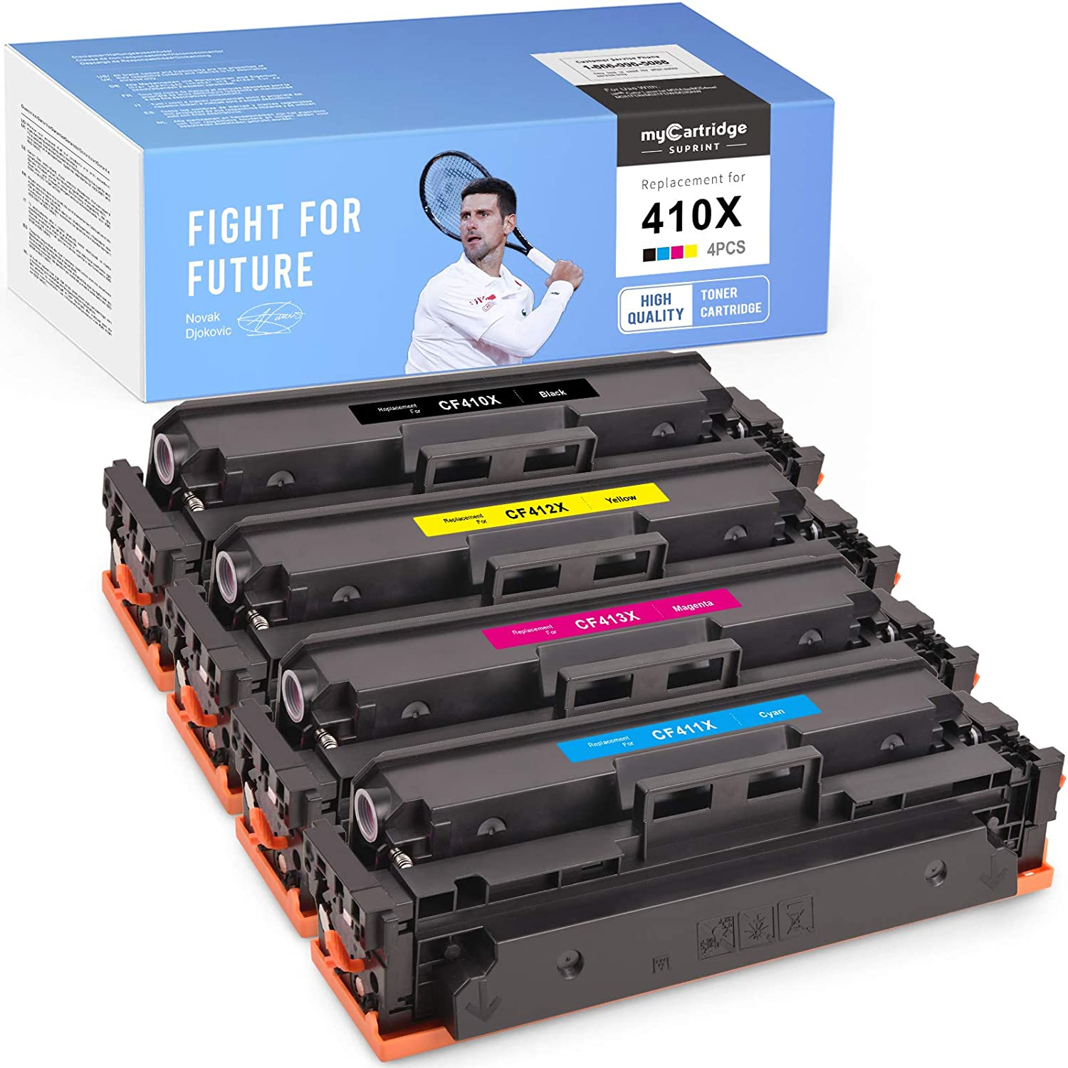 myCartridge SUPRINT Compatible Toner Cartridge Replacement for HP 410X CF410X use with Laserjet Pro MFP M452dw M452nw M452dn M477fdw M477fnw M477fdn M377dw (Black Cyan Magenta Yellow, 4-Pack)