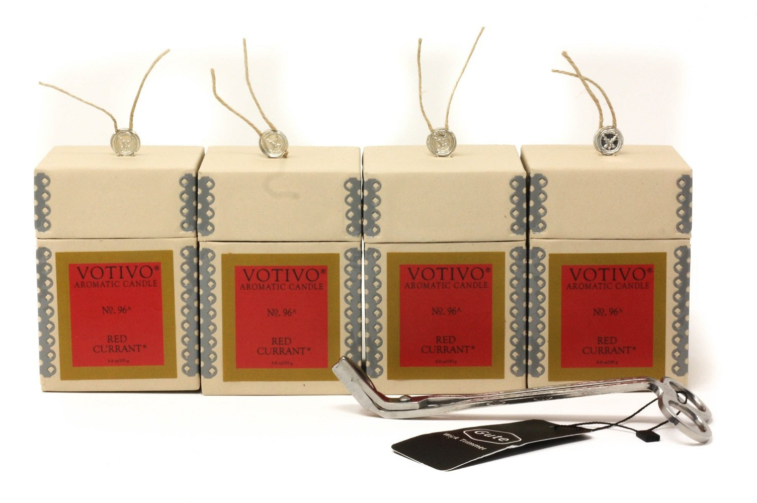 Gute Votivo Red Currant Aromatic Candle 4 Pack Bundle with Wick Cutter (5 Items)