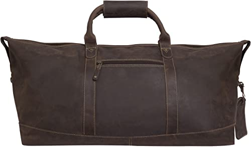 Canyon Outback Leather Goods Inc. Little River 22-inch Leather Duffel Bag – Full Grain Distressed Brown Leather Overnight Weekender Bag for Men and Women- Perfect Travel Bag or Gym Bag