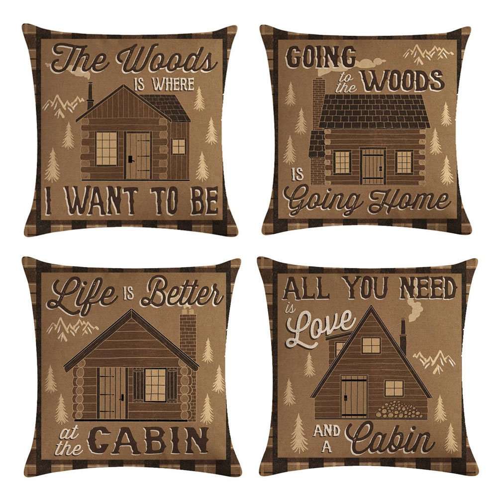 KACOPOL Retro Vintage Background Inspirational Quote with Wood Cabin Throw Pillow Covers Cotton Linen Pillowcase Cushion Cover Home Office Decorative Square 18'' X 18'' Set of 4 (Vintage Wood Cabin)