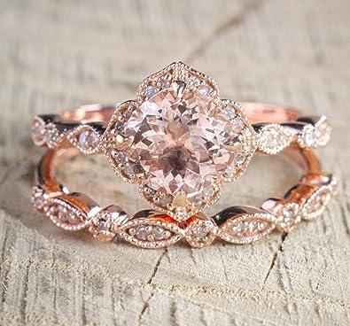842898383c65f 2 carat Round Cut Morganite and Diamond Halo Bridal Wedding Ring Set in  Rose Gold: Bestselling Design
