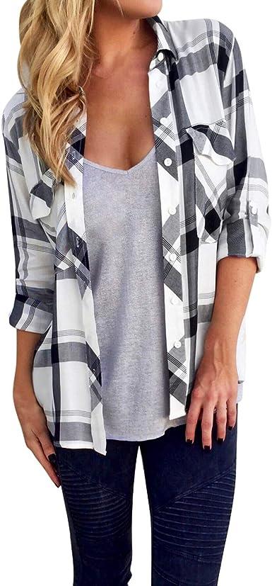 LAEMILIA - Blusa para mujer, camiseta de manga larga, cuello alto, desenfadada, a cuadros Blanco 34 EU: Amazon.es: Ropa y accesorios