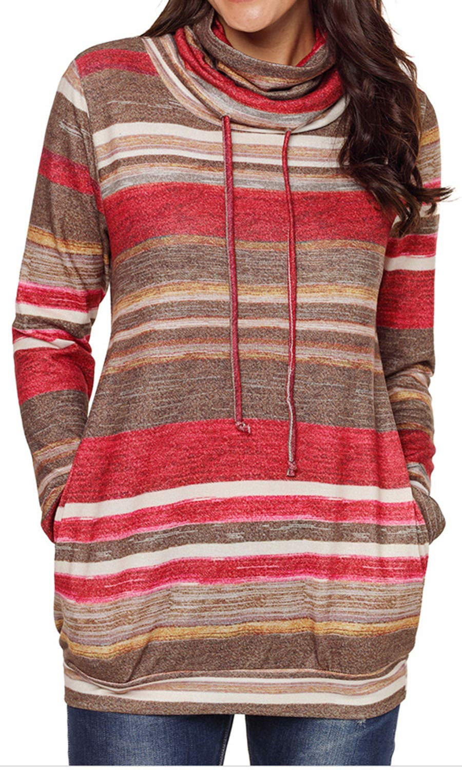 Bodycon4U Womens Striped Cowl Neck Drawstring Long Sleeve Pullover Sweatshirt Sweater Pockets Red XL by Bodycon4U (Image #1)
