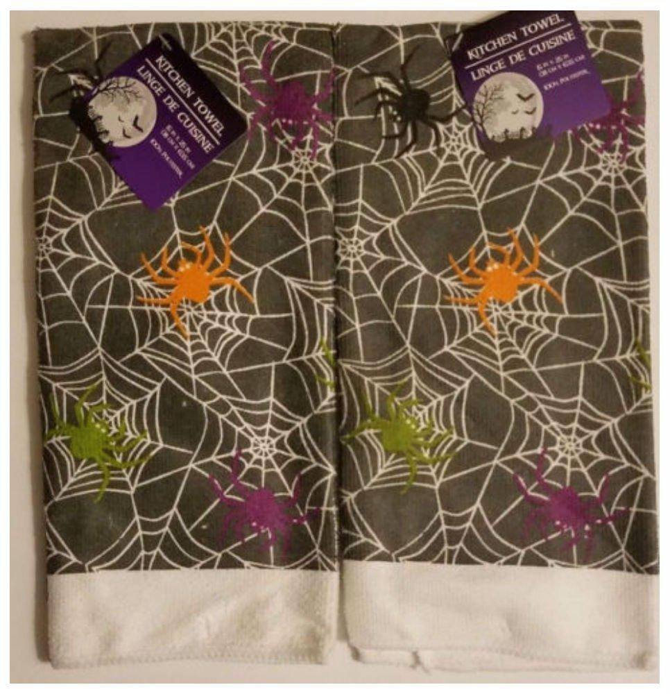NWT Halloween Kitchen Towels Set of 2 Spider Web 15''X25''