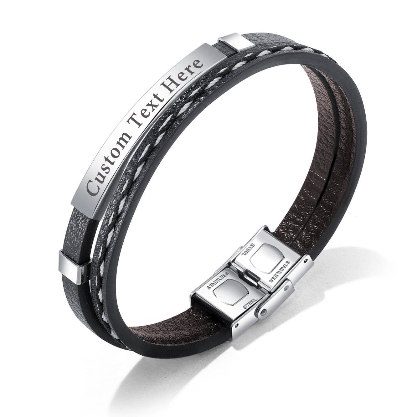 GAGAFEEL Leather Bracelet Braided Rope Cuff Custom Engraved Message Stainless Steel Bangle Unisex Gift (Engraving-Steel) by GAGAFEEL (Image #1)
