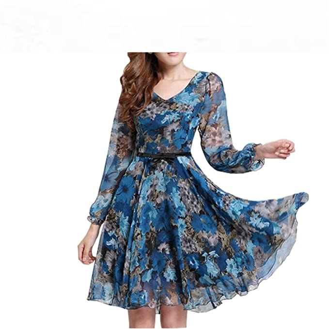 Jacgfe Womens Floral Print Vintage Dress Plus Size Sweet Lady Long