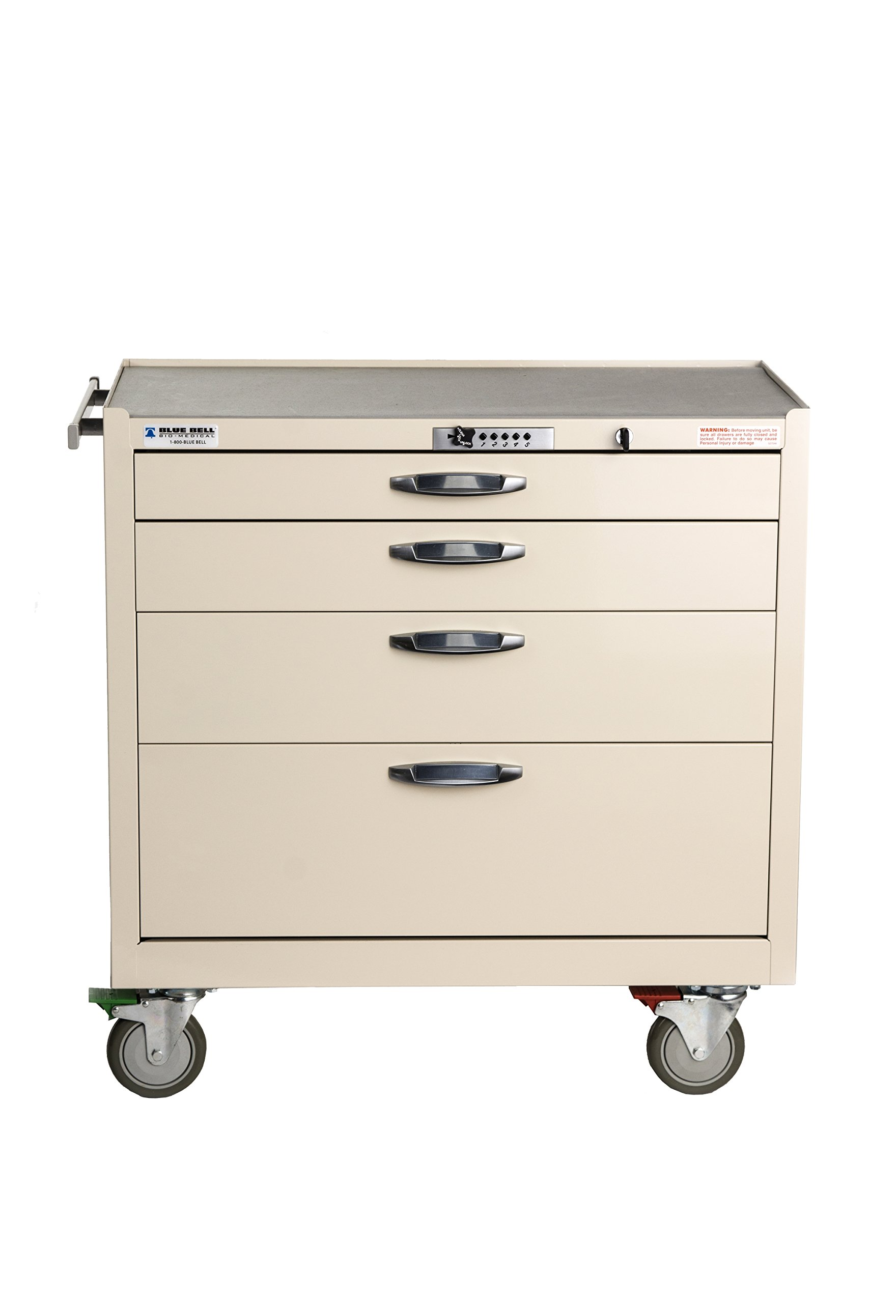 Blue Bell Medical 89036 BAC-22W, Wide Supply Cart, CPB Lock ,Professional Emergency Medical Crash Supply Cart For Anesthesia Treatment And Medical Equipment Storage