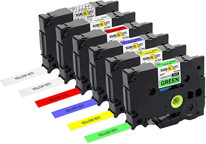 Black on Yellow Laminated Label for Brother P-Touch PT H101C H110 H105 2030VP P750W E100 H101GB D210VP Printer Labelwell 3 Pack 0.47 12mm x 8m Compatible Brother Tze-631 Tze631 Tz-631 Label Tape