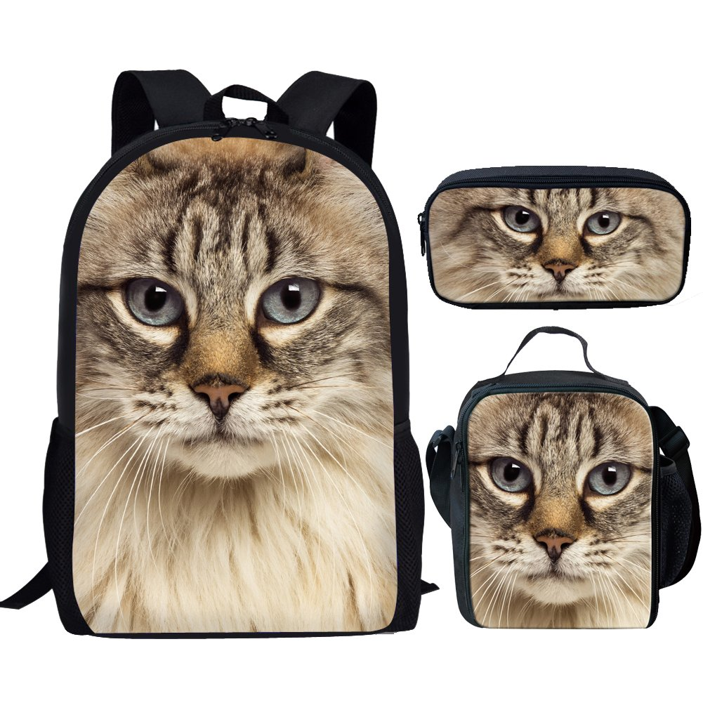 showudesigns Insulated Animal Tiger Headショルダーランチバッグ, クラシック, cute cat sets, M  cute cat sets B07FXQD31H