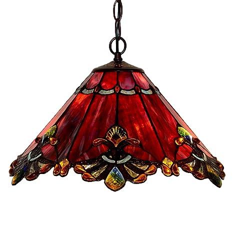 Bieye L30059 - Lámpara de techo de cristal tintado estilo Tiffany de 17 pulgadas, color rojo