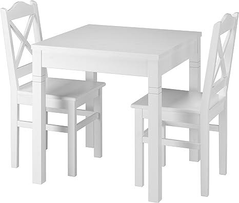 Dakea Essgruppe Tischgruppe Esstisch mit 2 Stühlen Set Weiß