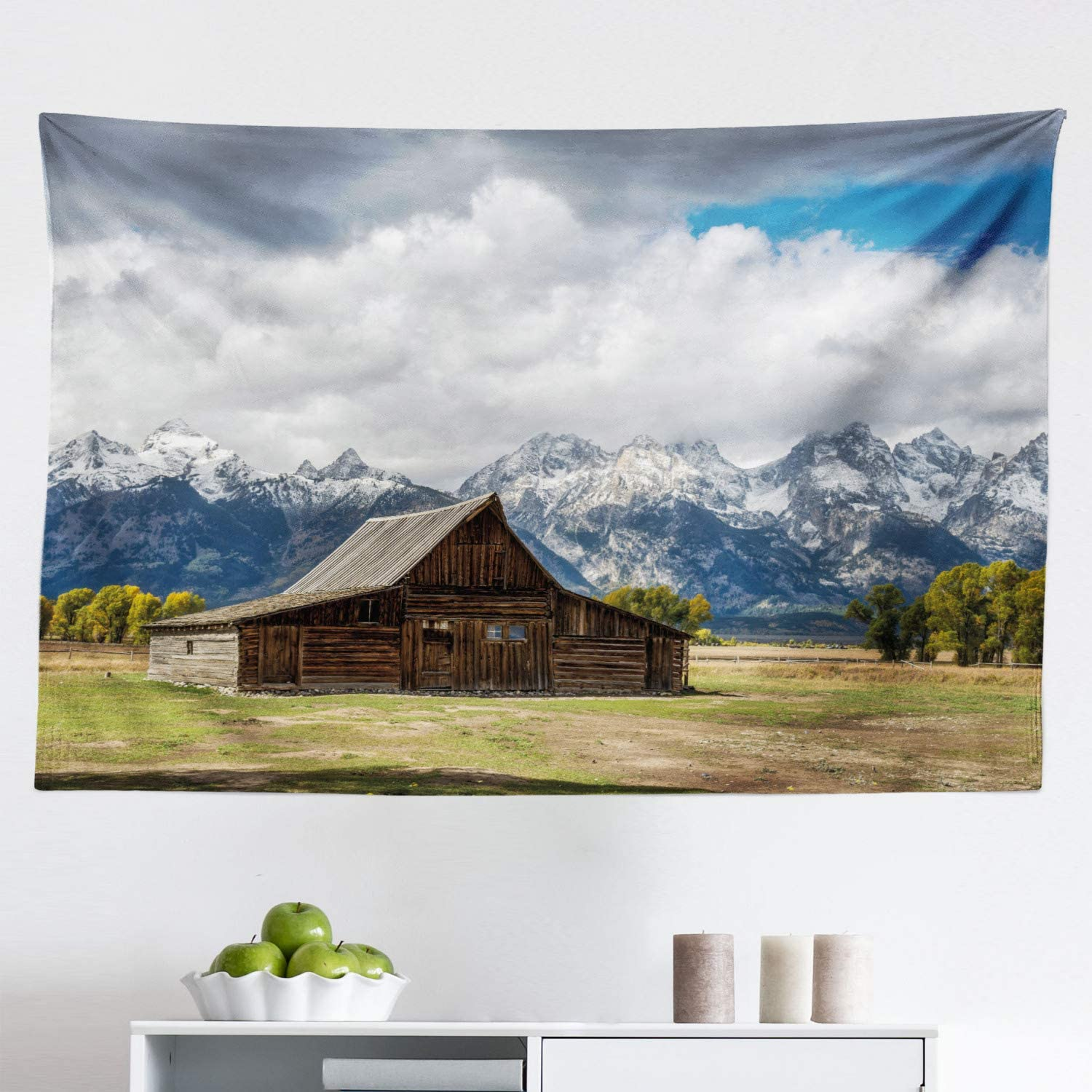 Ambesonne Wyoming Tapestry, Landscape of Old Rustic Wooden Cottage and Snowy Mountains with Fluffy Heavy Clouds, Fabric Wall Hanging Decor for Bedroom Living Room Dorm, 45