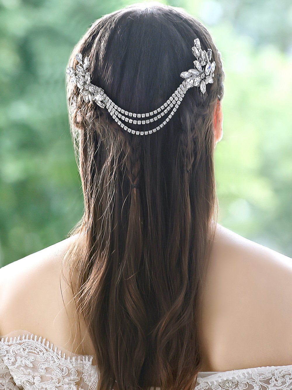 Handcess Wedding Hair Comb Rhinestones Hair Side Comb Accessories Bridal Chain Headpiece for Bride Bridesmaid (Silver)