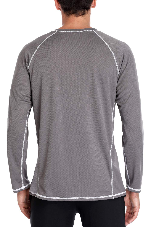Charmo Herren Rashguard Langarm UV Sonnenshirt Loose Fit UPF 50 Schwimmshirt