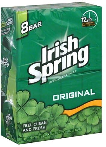 Irish Spring Deodorant Bar Soap Original, 3.75 oz bars, 8 ea (Pack of 2)