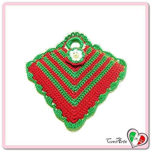 Rot Und Grün Häkeln Topflappen Für Weihnachten Größe 13 Cm X 15