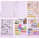 Lot de 6 feuilles de stickers retro avec messages pour scrapbooking