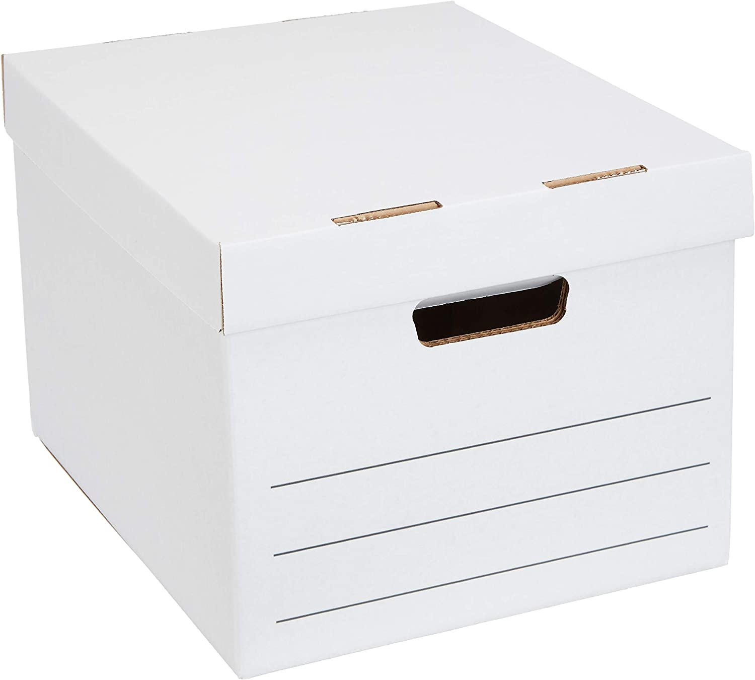 AmazonBasics Medium Duty Storage Filing Box with Lift-Off Lid - Pack of 12, Letter / Legal Size