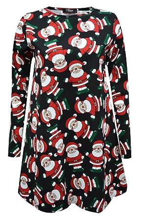 b78fe59491d57 Womens Ladies Long Sleeve Penguin Santa Hat Snowman Printed Xmas Christmas  Swing Dress Plus Size Top 8-26 (XXXL 24-26